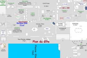 Plan du Gîte Piscine avec 3 marches,10 x 5 mètres