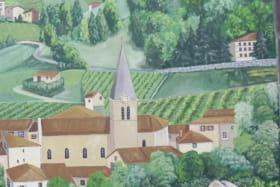Chambres d'hôtes 'Le Relais du Colombier' à Marchampt (Rhône - Beaujolais) : fresque.