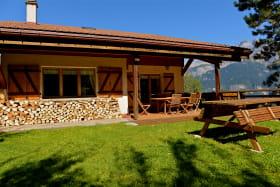 Terrasse chalet vue MtBlanc