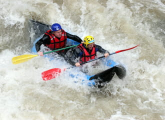 Canoe-raft on Dranse