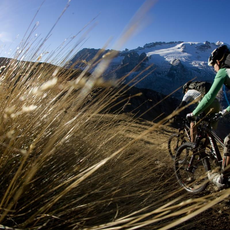 Profitez des activitésde VTT en Tarentaise (Alpes), descente du domaine de l'Espace San Bernardo en toute liberté
