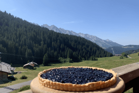Tarte aux myrtilles au restaurant d'altitude La Duche