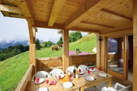 Terrasse abritée accès séjour et jardin avec vue montagne plein sud