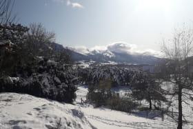 La vue sur les montagnes du Vercors depuis l'hébergement.