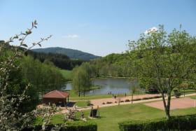 Chalet-Gîte du Plan d'eau d'Azole (Gîte N° 2) à Propières (Rhône - Beaujolais Vert) : vue panoramique sur l'étang de pêche.