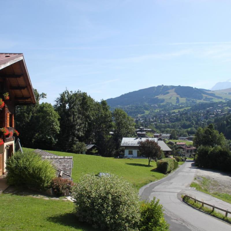 Le chalet avec la vue sur le Mont Blanc
