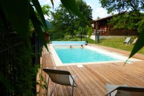 piscine chauffée 4x7 m avec banquette intégrée