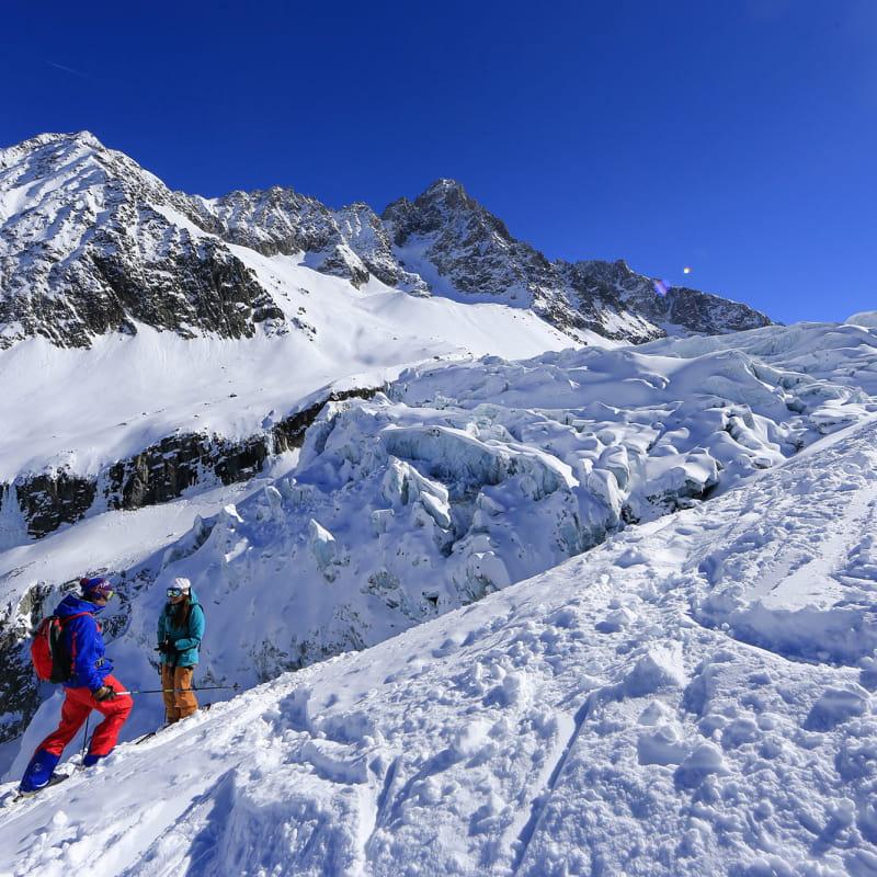 Skieurs aux Grands Montets