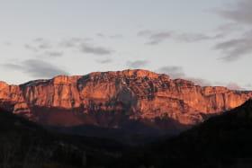 coucher de soleil sur glandasse,vue depuis la terrasse