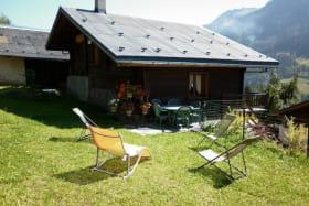 chalet entouré de prairie,non cloturé. terrasse avec table, chaises,parasol et chaises longue