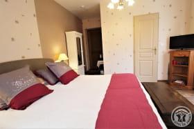 Chambre d'hôtes 'La Fuserie' à Ouroux (Rhône - Beaujolais Vert) : la chambre dispose d'une TV.