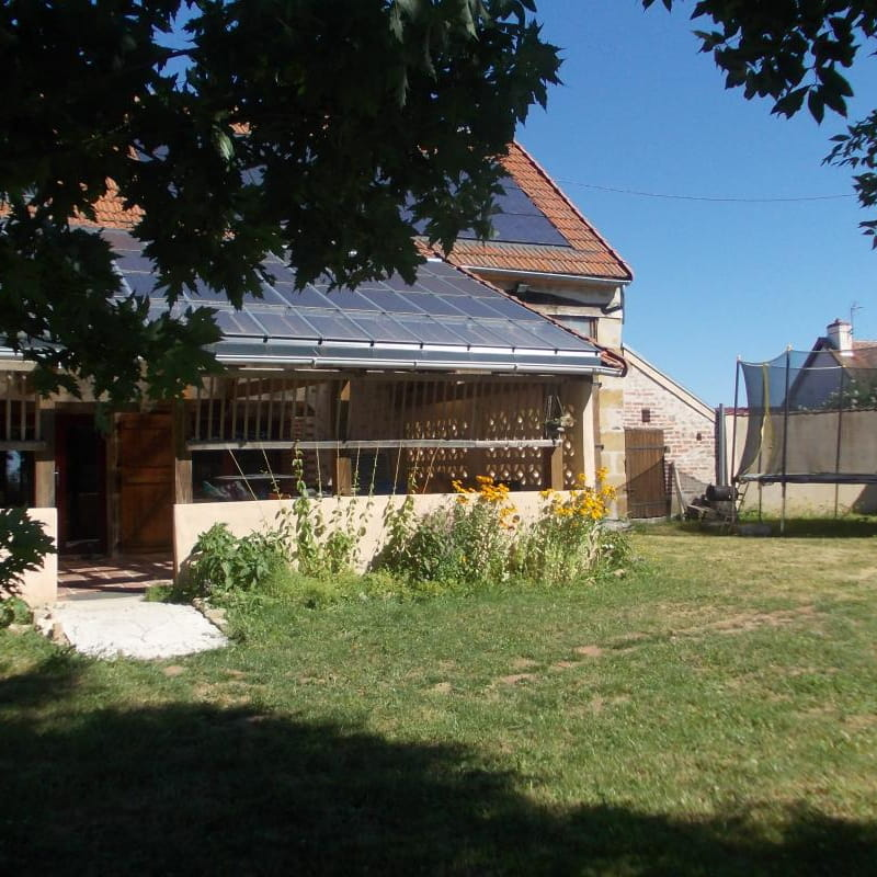 terrasse, trampoline, espace extérieur
