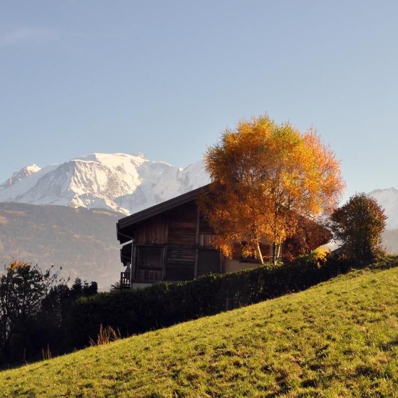 Notre chalet dans son écrin face au Mont-Blanc.