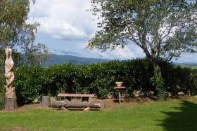 Gîte de Dalbepierre à SAINT LAURENT D'OINGT (Rhône - Beaujolais - Val d'Oingt) : Espace de détente dans la cour.