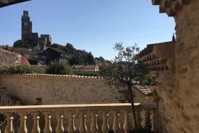 Vue de la terrasse principale sur la tour de Chamaret