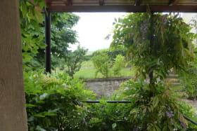 'Gîte des 4 Saisons' à Régnié-Durette (Rhône - Beaujolais vignobles) : vue sur le jardin depuis l'entrée.