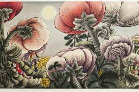 Le Bouquet - Dessin à l'encre de Chine, plume, gouache, crayon de couleur  29 x 45,4 cm. Collection particulière