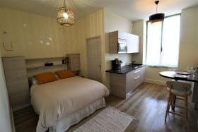 Gîte/studio 'Domaine de la Feuillade -  Hypolite de Rosières' à Messimy (Rhône - Ouest Lyonnais) : pièce à vivre côté fenêtre.
