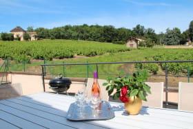 Gîte du Domaine de Barvy à Odenas (Rhône- Beaujolais) : la terrasse avec le rosé et le barbecue n'attendent que vous !