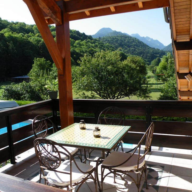 Terrasse privative couverte