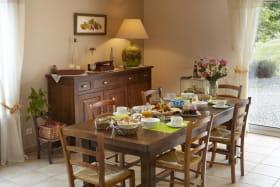 Chambres d'hôtes La Bergerie à POLLIONNAY dans le Rhône : table de petit-déjeuner.