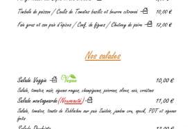 Carte Hiver à emporter : entrées et salades