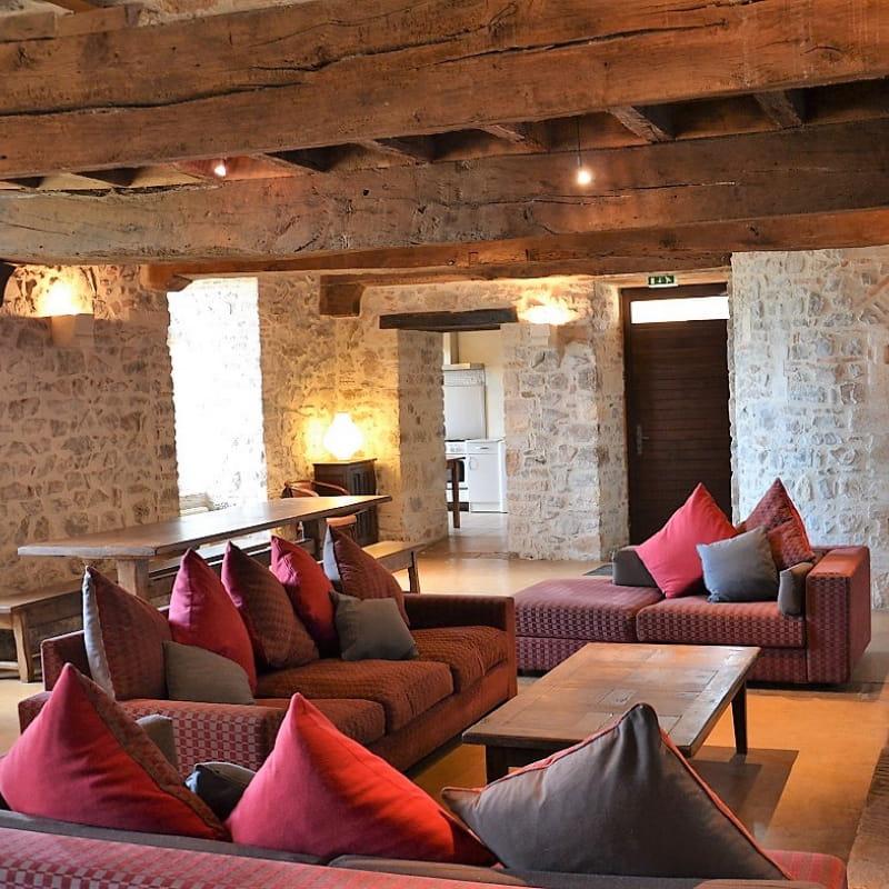 Gîte de groupe Le Vigneron 15 personnes - Château des Tours à St Etienne-La-Varenne (Rhône - Beaujolais) : séjour/salon avec cheminée.