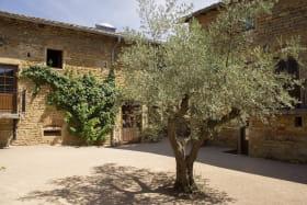 Gîte - 36 personnes - Le « Relais des pierres Dorées » à Lacenas dans le Beaujolais - Rhône : Cour intérieure.