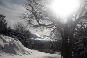 Le parc enneigé avec vue sur la Moucherolle