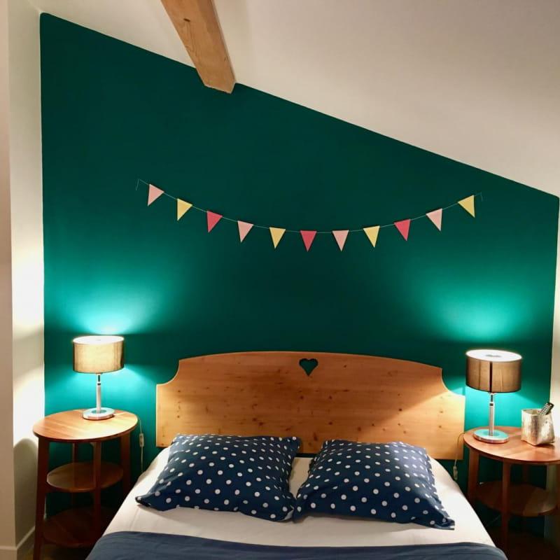 La chambre verte R+1-1 lit double et 1 lit simple
