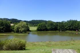 Chalet-Gîte du Plan d'eau d'Azole (Gîte N° 5) à Propières (Rhône - Beaujolais Vert) : plan d'eau pour la pêche sur place.