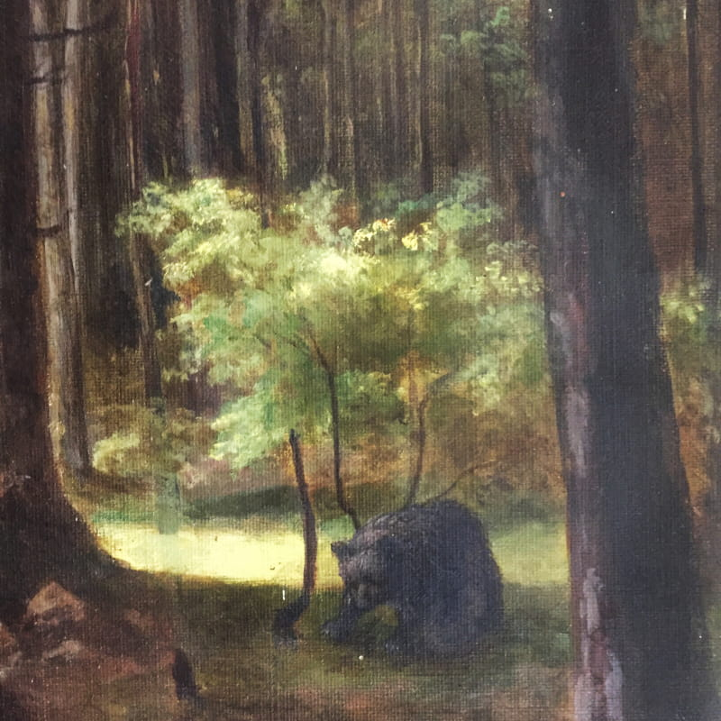 Paul Cabaud, Paysage de forêt avec un ours, Huile sur toile, acquisition 2019